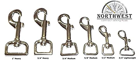 "Nickel plated, Heavy, Swivel Snap hook for 1"" webbing or straps. (4 pcs) - Nickel Plated Bolt"