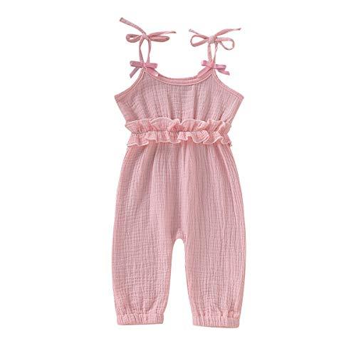 Kids Newborn Infant Baby Girls Summer One Piece Romper Clothes Jumpsuit Ruffled Halter Bodysuit (Pink, 0-6 Months) ()