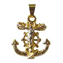 14k 2 Tone Gold Overlay Anchor Crucifix About 1 Inch Long