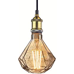 Industrial Pendant Light Vintage Bronze Metal Socket Diamond Glass Led Bulb 6 Watts, Ceiling Lamp Gifts
