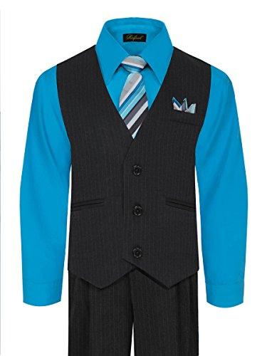 Boys Vest And Pant Set  Includes Shirt  Tie And Hanky    Black Vivid Blue  5