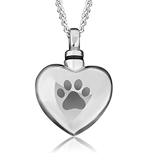 Charmed Craft Pet Dog/Cat Paw Print Cremation Necklace URNs For Ashes Holder Memorial Pendant Stainless Steel