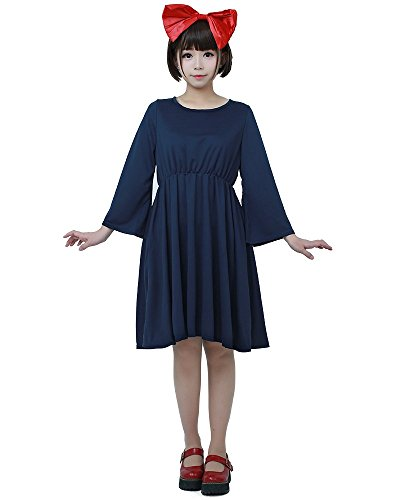 Miccostumes Womens Kiki's Halloween Cosplay Costume Witch Dress Dark Blue