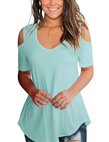 SMALNNIE Cold Shoulder T Shirts for Women Short Sleeve Hollow Out Cotton Top Lake Green XL
