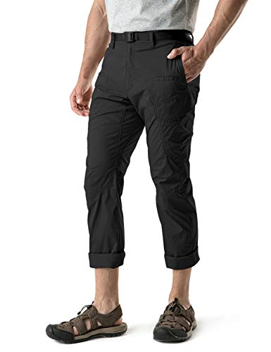 CQR CQ-TXP401-BLK_42W/30L Men's Outdoor Adventure Rugged Pants Hiking Camping Stretch Durable UPF 50+ Quick Dry Cargo Trousers TXP401
