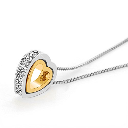 18k Two Tone Gold Pendant - Double Heart Two Tone Necklace 18K Rose Gold Plated Eternal Lifetime Loving You Interlocking Heart Charms (Gold heart CZ necklace)