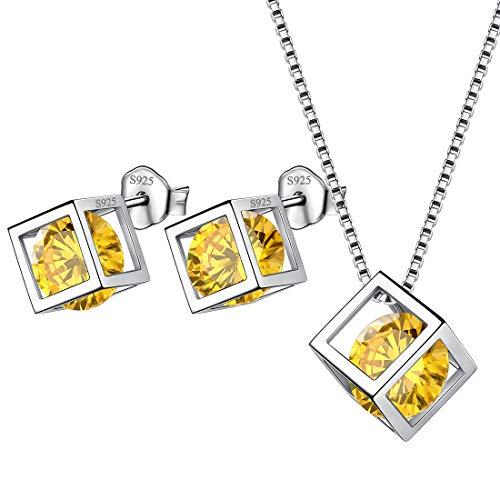 Aurora Tears Birthstone November Jewelry Sets Girls 925 Sterling Silver Women Birth Crystal Stone Necklace Earrings Sets Birthday Gift DS0028N