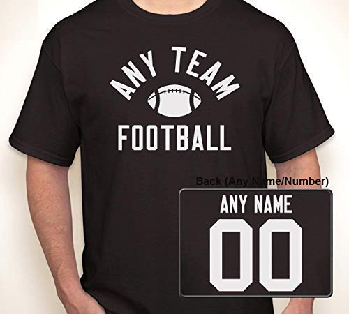 ((ANY TEAM) FOOTBALL WITH OPTIONAL ANY NAME/ANY NUMBER JERSEY | T-shirt S-6XL (Adult), S-XL (Youth))