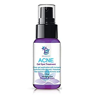 Diva Stuff,Cystic Acne Gel Treatment, Maximum Strength For Overnight Results,Goes On Clear, For Mild to Severe Acne, Salicylic Acid, Hawaiian Sea Extract,Hyaluronic Acid, Lactic Acid & Turmeric