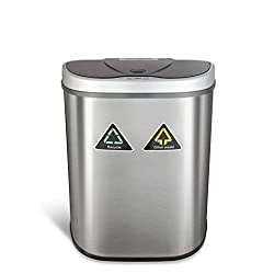 Ninestars Dzt-70-11r Automatic Touchless Motion Sensor Semi-round Trash Canrecycler, 18.5 Gal. 70 L, Stainless Steel