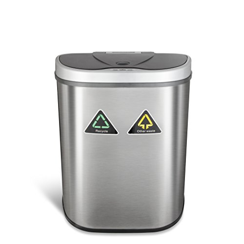 NINESTARS DZT-70-11R Automatic Touchless Motion Sensor Semi-Round Trash Can/Recycler, 18.5 Gal. 70 L., Stainless Steel