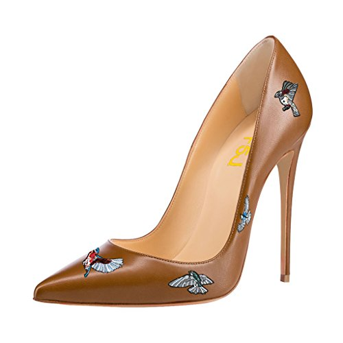 Size Pumps Heels Multicolor Stilettos Brown High Print Pointy Dress FSJ Shoes Toe 4 15 Eagle qvFYnRvd