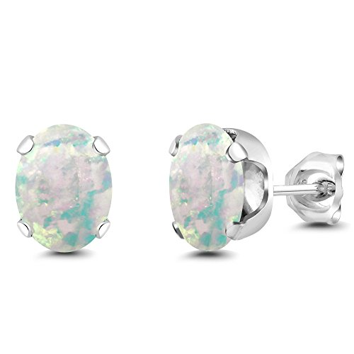 Gem Stone King 2.10 Ct Oval Cabochon 8x6mm White Simulated Opal 925 Sterling Silver Stud Women