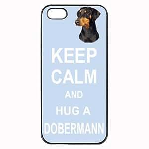 Pink Ladoo? Dobermann Dog Keep Calm and Hug Hard Case Clip on Back Cover for i-Phone 4/6 plus 5.5'