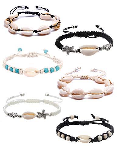 BOMAIL 6 Pieces Natural Cowrie Shell Ankle Bracelets Seashell Crochet Ankle Bracelet Handmade Boho Anklet Jewelry Adjustable Shell Bead Anklet for Women Girls