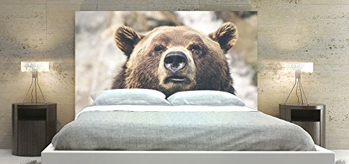 Upholstered Padded Adjustable Fabric Headboard with Solid Wood Frame Panel with Digital Printed Slipcover, Bear Theme (King Size: 78 x 36 inch) - Upholstered Headboard Slipcover