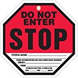 Accuform TAP842CTP Octo-Tag, Legend''STOP DO NOT ENTER'', 8'' Octagon Shape, 0.010'' Thickness, PF-Cardstock, Red/Black on White (Pack of 10)
