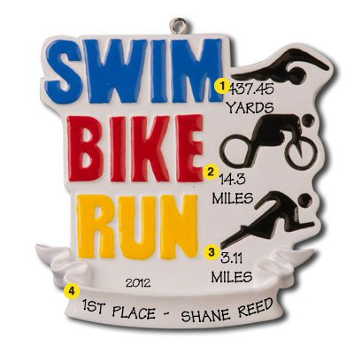 Fitness Swim, Triatholon, Bike, Run Personalized Christmas Tree Ornament