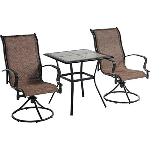 3-Piece Brown Waterproof Breathable All-Weather Sling Fabric Durable Powder-Coated Steel Frame Wesley Creek Bistro Set With Swivel Chairs (Bars Clearance Height)