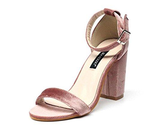 GLTER Mujeres Ankle Strap Bombas Simple Niza Salvaje Suede palabra zapatos de tacón alto Sandalias Negro Rosa , pink , 37 pink