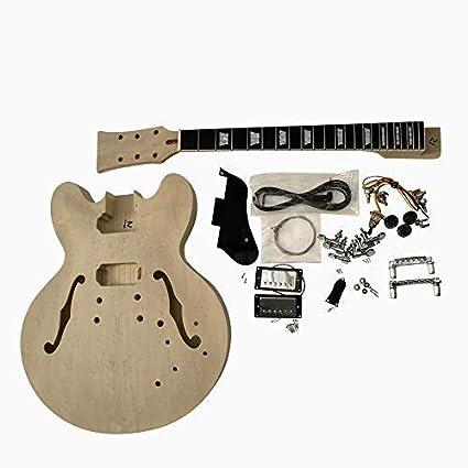 GDES235B Coban Es Caoba Cuerpo Hueco Birdeye Arce Chapa Todos Pretaladrados Guitarra Eléctrica Kit Construcción