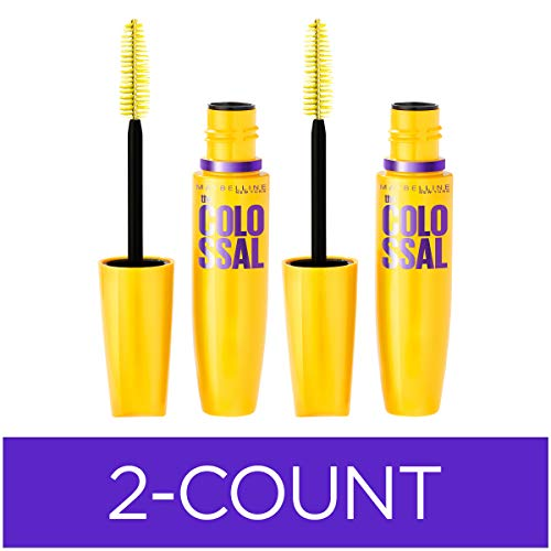 Maybelline New York Volum' Express The Colossal Washable Mascara Makeup, Classic Black, 2 Count