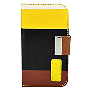 Eagle Cell Luxury Multi Colored Wallet Pouch for iPhone 4/4S, Retail Packaging, White/Yellow/Black/Brown