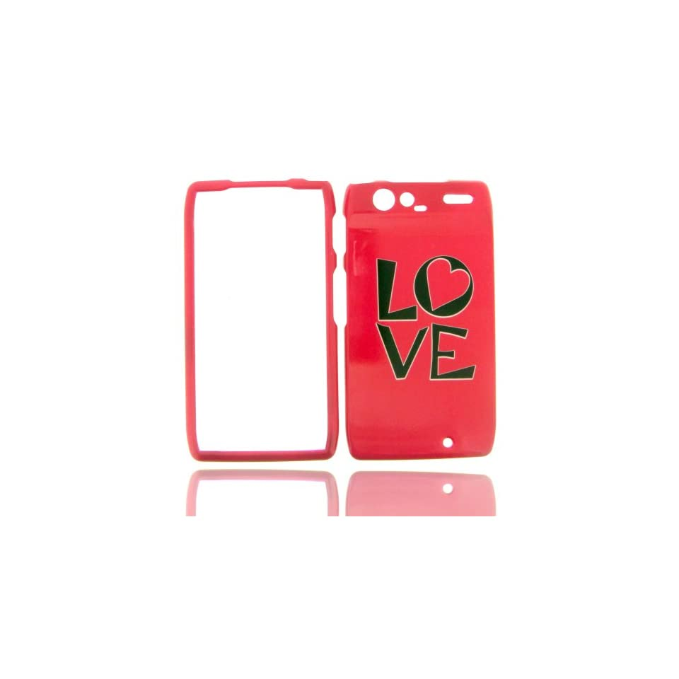 Motorola Droid RAZR XT912 XT 912 Hot Pink with Black LOVE Heart Design Snap On Hard Protective Cover Cell Phone Case