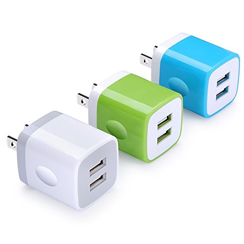 Charger Base, FiveBox 3-Pack Dual USB Wall Charger Brick Block Portable Travel Adapter Charger Box Charging Plug Cube for iPhone 8/X/7/7s, Samsung Galaxy S8/S7/S6 Edge, Android, HTC, Google, Nokia, LG