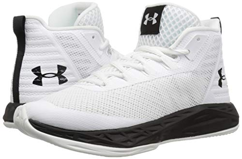 Under Armour Women's Jet Mid Basketball Shoe, White (100)/Black, 5