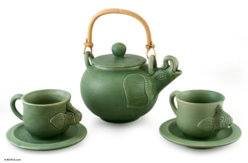 NOVICA Good Luck Ceramic Tea Set, Green, 6 oz, 'Elephant Clan' (Set for 2) by NOVICA