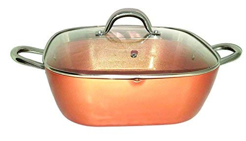 (Copper XL Pan 12 Inch 6 Qt. Deep Square Pan With Tempered Glass Lid, Pour Spout Round Handles Induction Base Dishwasher Safe)