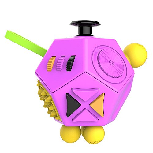 Stress Cube Reliever (KCHKUI Fidget Cube by Fidget Toy Relieves Stress and Anxiety Attention 12 Sides Finger Dice for Children Adults Kids (Purple))