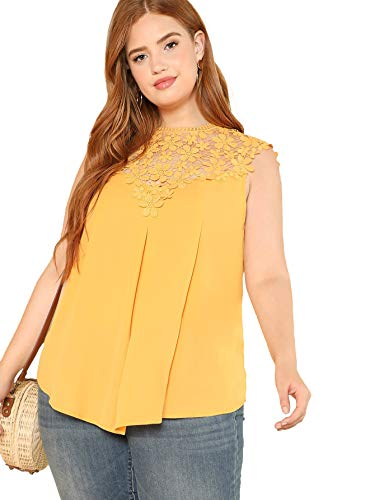 Sleeveless Top Neckline (Floerns Women's Plus Size Lace Neckline Sleeveless Chiffon Blouse Top Yellow-1 1XL)