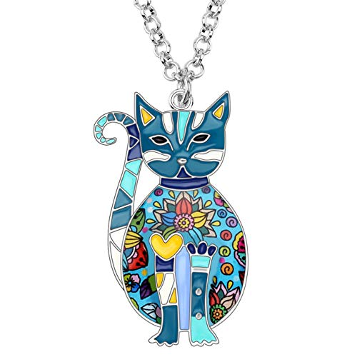Bonsny Enamel Alloy Floral Kitten Cat Necklace Chain Pendant Fashion Jewelry for Women Girl Charm Gift -