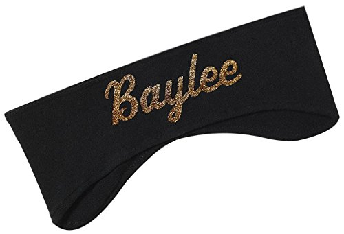 Polar Fleece Ear Warmer Headbands with Custom GLITTER Text for Cold Weather Sports and Casual Wear -