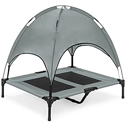 """Best Choice Products 36"""" Raised Mesh Cot Cooling Dog Bed w/ Canopy Tent, Travel Bag"""