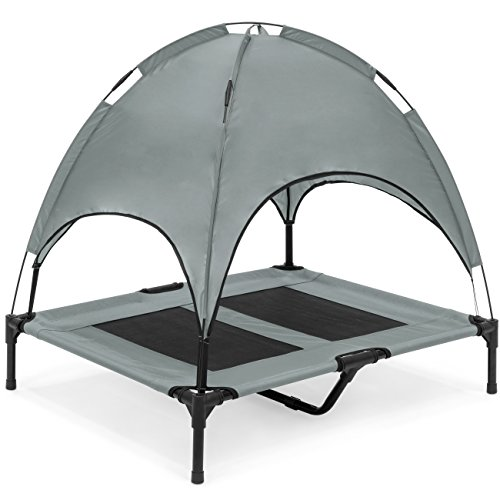(Best Choice Products 36in Outdoor Raised Mesh Cot Cooling Dog Pet Bed w/Removable Canopy, Travel Bag - Gray)