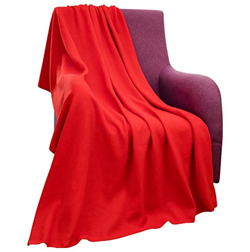(CAI TENG Fleece Blanket Super Soft Cozy Warm Red Throw Blanket Microfleece Blanket for Bed, Sofa or Chair, All Season Use, Easy Care (Red, 52x67 Inches))