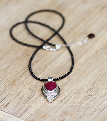 July Birthstone Bridal Bezel Set Natural Bright Red Ruby Pendant in Sterling Silver on Black Spinel Chain Wedding 40th Anniversary