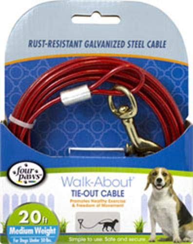 Four Paws Red Medium Weight 20 Foot Dog Tie Out Cable by Four Paws