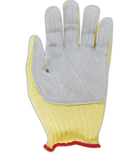 Sperian KV18AL-100-50 Junk Yard Dog Womens Glove with Leather Palm, Yellow, 9 (Pack of 12)