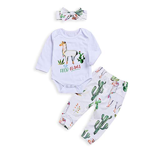 BELS 3pcs Baby Girls Boys Alpaca Long Sleeve White Romper Tops + Cactus Floral Pants with Headband (White, 70/0-6M)