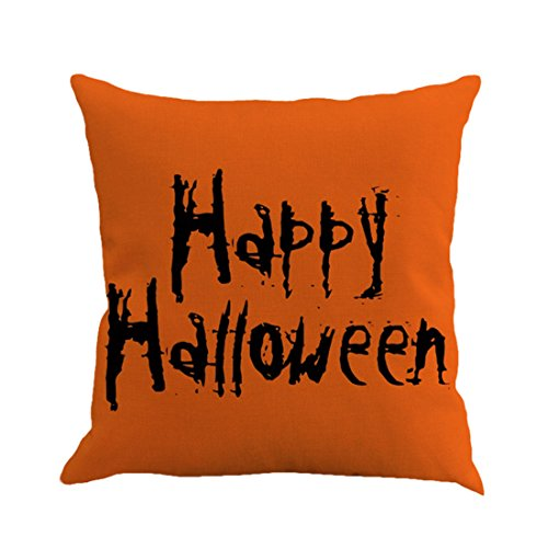 Unigift Halloween Theme 18 X 18 Inch Linen Pillow Cover Cushion Case Happy Halloween Pumpkin for Home Bedding Car Sofa Office Decoration. (Happy Halloween) -