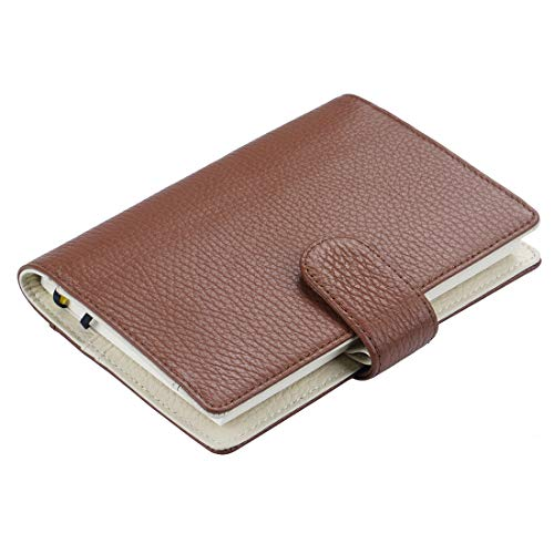 Leather Cover for A6 Hobonichi Planner - Moterm Leather Midori MD, Stalogy A6 Notebook Cover with Pen Loop, with Card Slots and Pockets (A6, Brown-Beige)