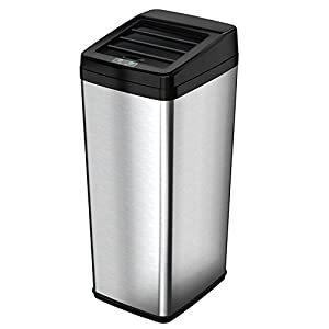 iTouchless Sliding Lid Automatic Touchless Sensor Trash Can – 14 Gallon / 52 Liter – Stainless Steel – Kitchen Trash Can