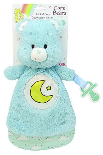 Bear Pacifier Holder - Care Bears Lovey Blanket with Pacifier Loop, Bedtime Bear - Blue
