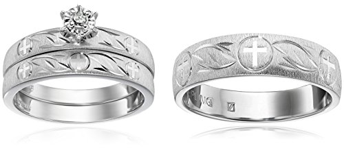 Sterling Silver Diamond Trio Wedding Ring Set