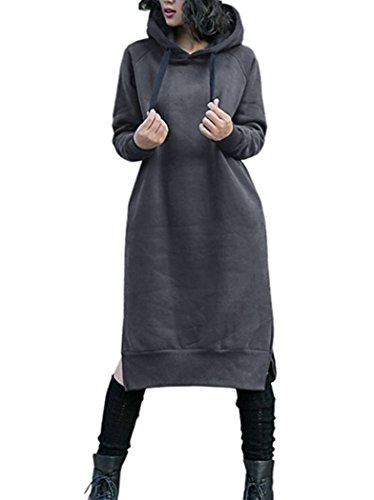 ckening Long Fleece Sweatshirt String Hoodie Dress Pullover Plus Size,Dark Grey,Medium ()