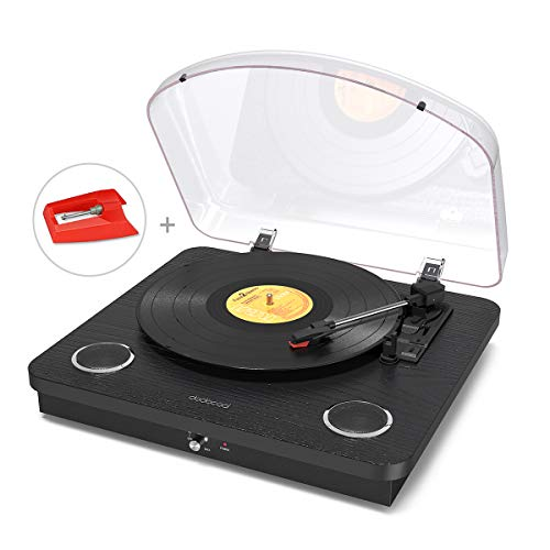 dodocool Vinyl Record Player, Wireless Turntable 3-Speed with Built in 2 Stereo Speakers, Vinyl to MP3 Converting/ RCA Output/ AUX/ USB/ SD Input - Natural Wood